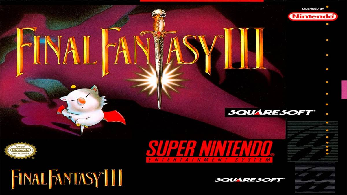 The Final Fantasy III Logo has a sword where the T should be, and the box is purple and black, with the white furred bearlike character Mog on the bottom left.