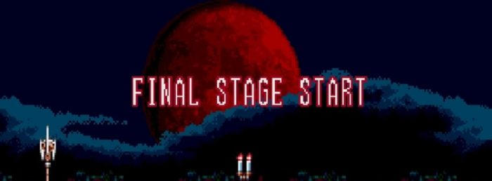 "Stage 6 of Bloodlines begins with a Blood Moon as the words ""Final Stage Start"" slide in and out of frame"