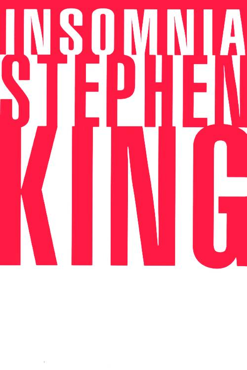 """The 1994 hardcover edition of Stephen King's insomnia had a red background with white letters for """"Insomnia,"""" and a white background and larger red letters for the author's name."""