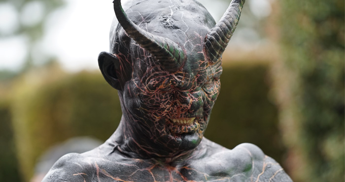"The demon Mashit from the short film ""Mashit"" sits in center frame"