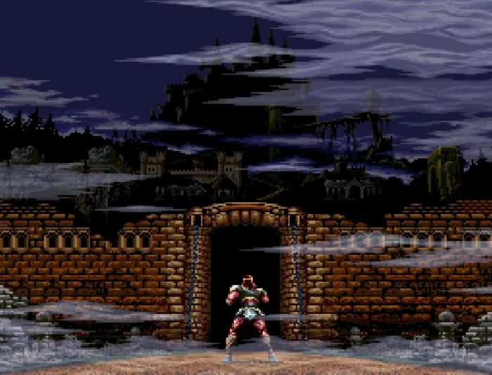 Simon stands before an entryway leading towards Castlevania