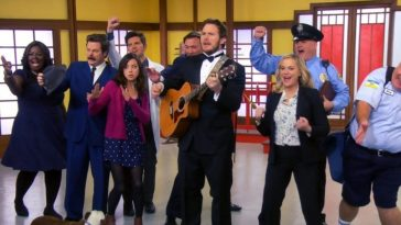 The whole cast and Andy sing the Goodbye Song. Andy Plays guitar, and Champion the dog is there too.