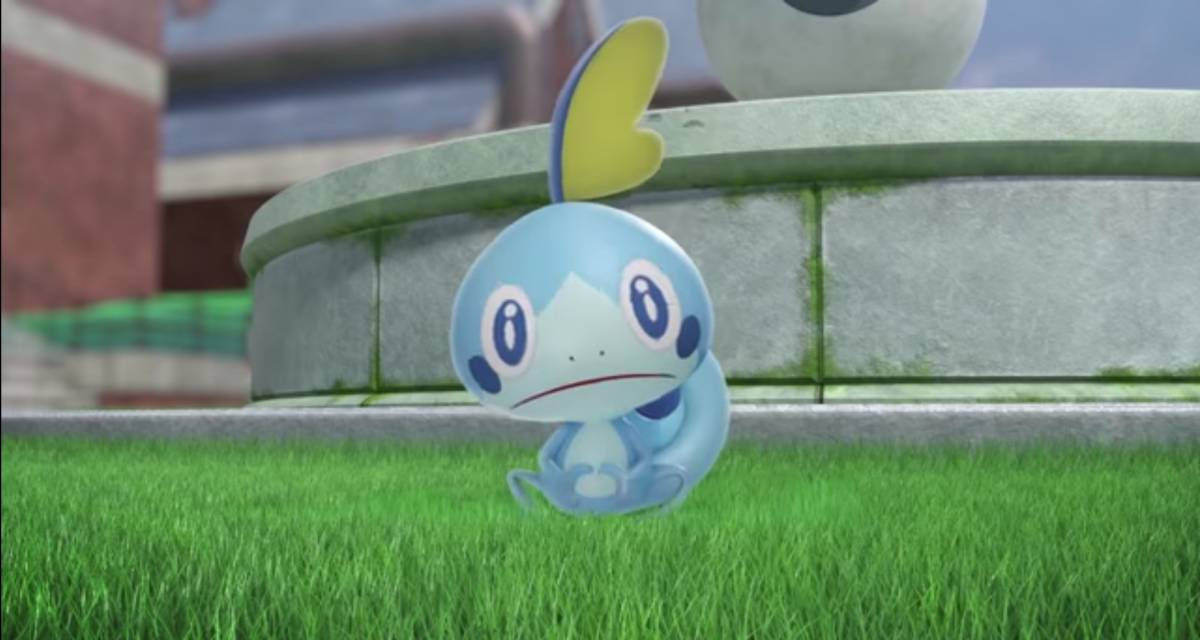 Sobble looks ahead with a sad face and timid demeanor.