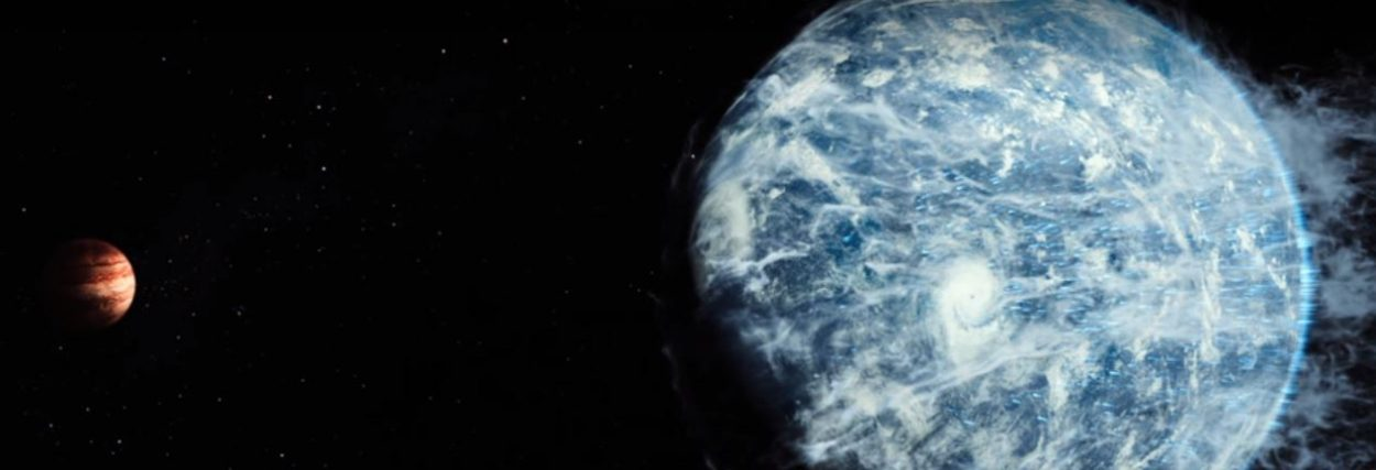 Earth, powered by the fictional Earth Engines, plows towards Jupiter on its journey to another system in the The Wandering Earth.