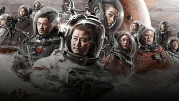 Liu Qi (Chuxiao Qu), Liu Peiqiang (Jin Wu), Han Zi'ang (Man-Tat Ng), Wang Lei (Guangjie Li), Li Yiyi (Yichi Zhang), Han Duoduo (Jin Mai Jaho), stars of the Chinese science fiction blockbuster, The Wandering Earth.