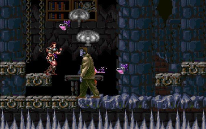 Simon battles Frankenstein's monster, a large lumbering creature.