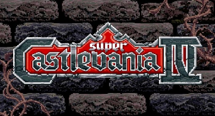 Super Castlevania IV title logo in front of a brick wall
