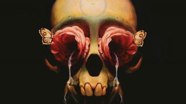 A book cover with the depiction of a skull with red roses in the eye sockets pouring with water