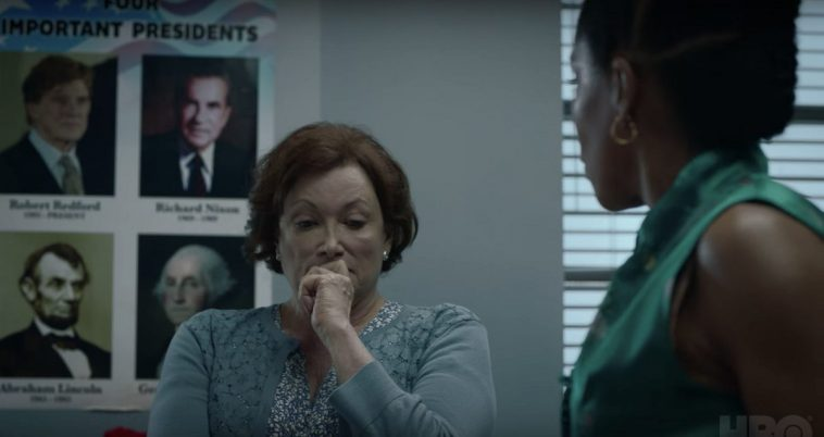 """Watchmen - Angela talks to Topher's teacher, the """"Important Presidents"""" poster in the background"""