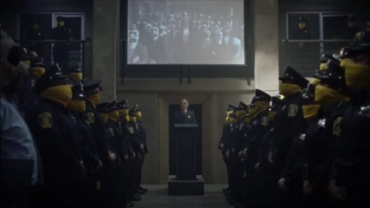 Watchmen - The entire police force stands with the chief at a podium, 7K video in the background