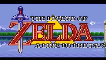 The title screen has an image of Hyrule castle and its lake, with the Title words Zelda in boldfaced red, a sword through the Z, and a yellow trifoce behind it.
