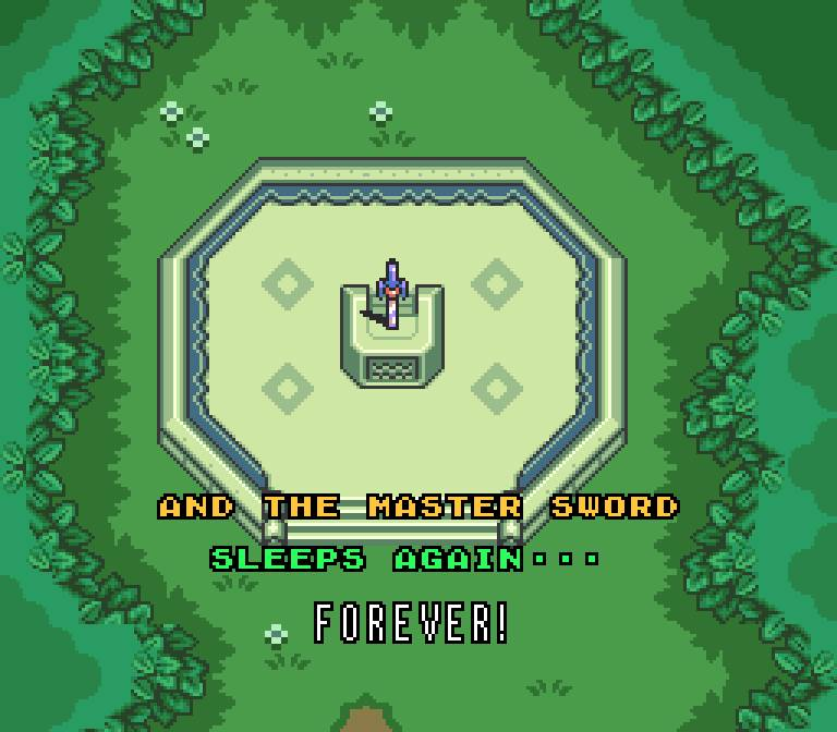 In the Zelda Link to the Past ending, the Master Sword is returned to where it came from in the mysterious forest.