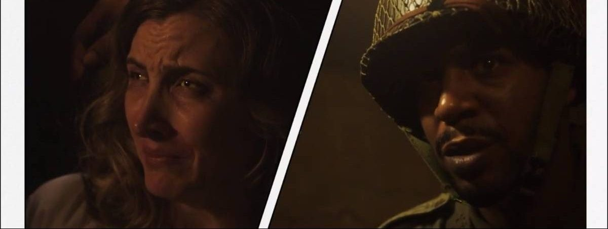 A comic-book-like split screen shows a French woman crying and the American soldier who translates for her looking aghast.