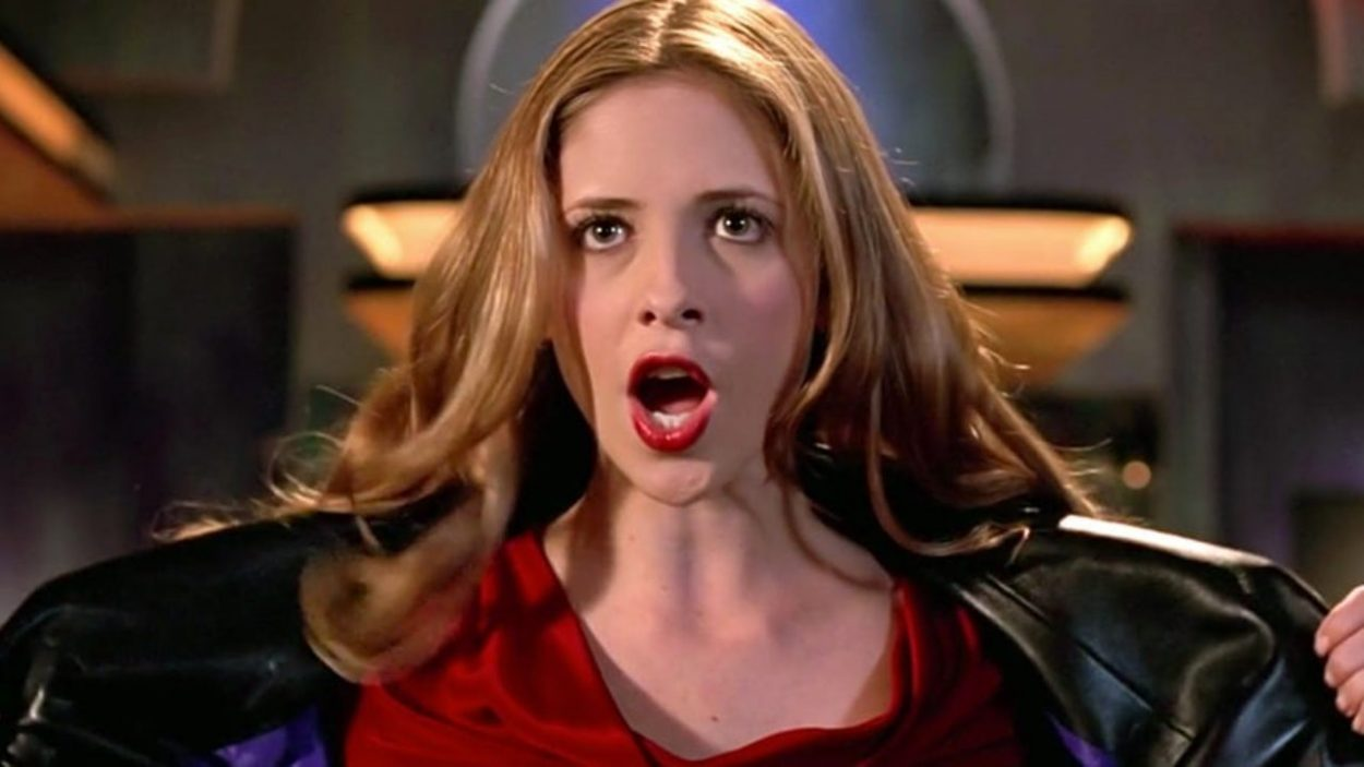 Sarah Michelle Gellar as Buffy singing for the demon Sweet