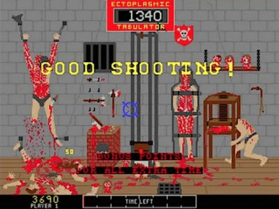 "Dismembered bodies in a torture room are shown to you as you are told ""Good Shooting!"". Apparently, this is your handy work."