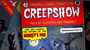 "Cover of the Creepshow comic with text that reads ""Can you handle to power of the monkeys paw"" set before a full moon and skeletal corpes"