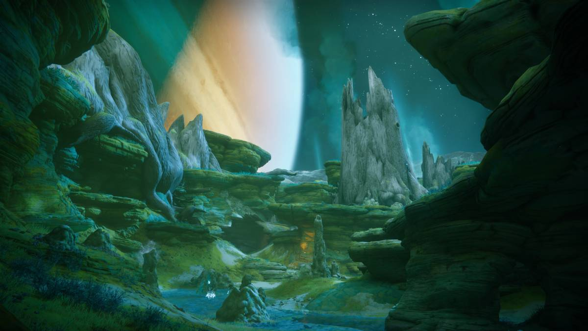 gorgeous green cave area in Destiny 2