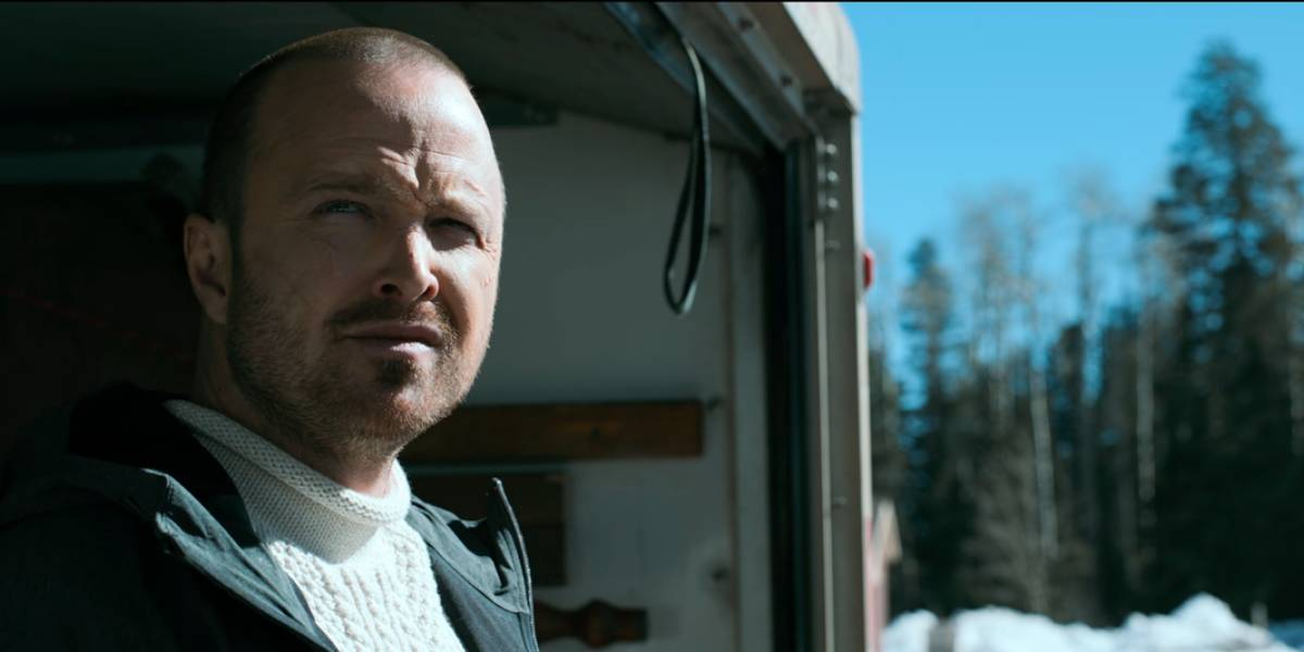 Jesse Pinkman exits a truck and looks out at the Alaskan wilderness