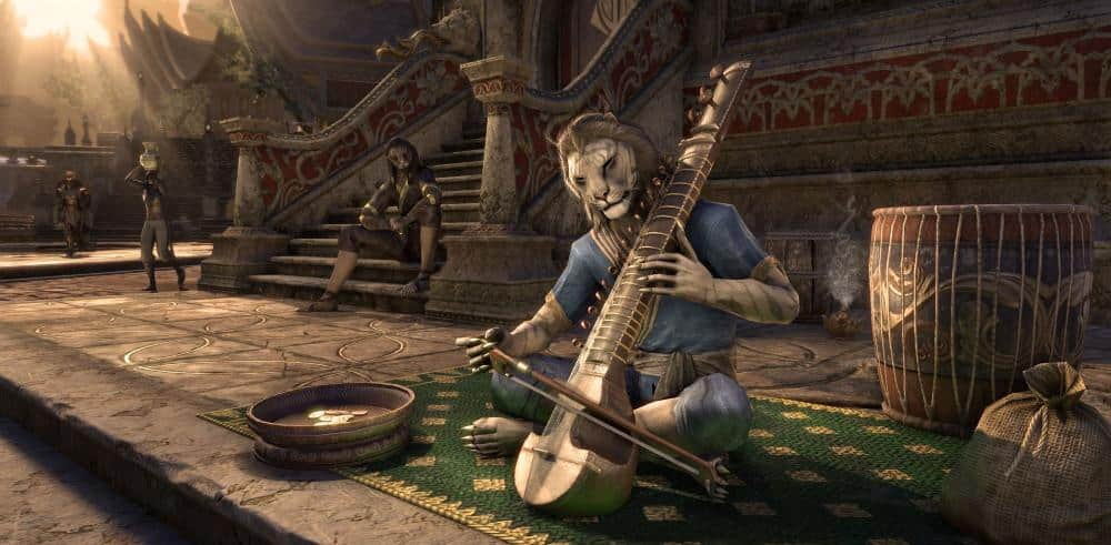 khajit character playing a string instrument