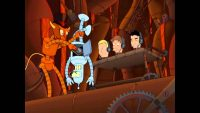 The devil holds Bender upside down in Robot Hell from Futurama