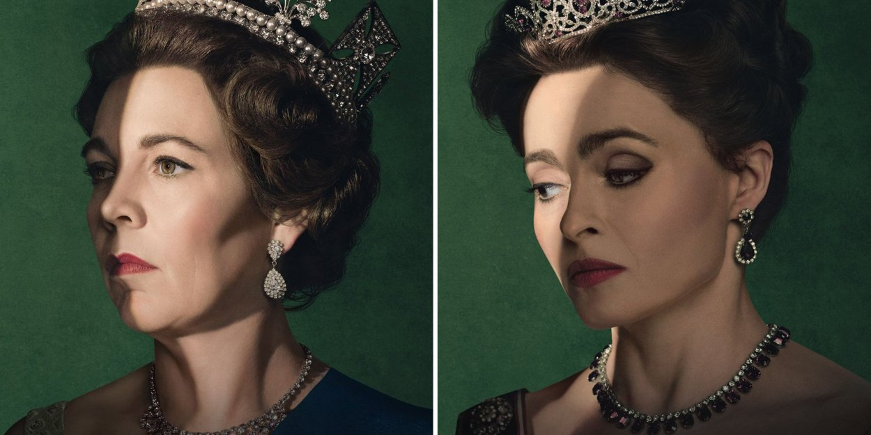 Queen Elizabeth and Princess Margaret both look to the side, wearing crowns, in front of a green backdrop
