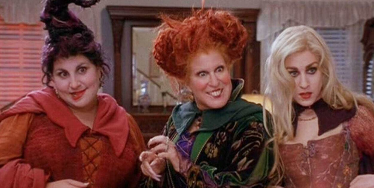 The three Sanderson sisters are looking at something, intrigued