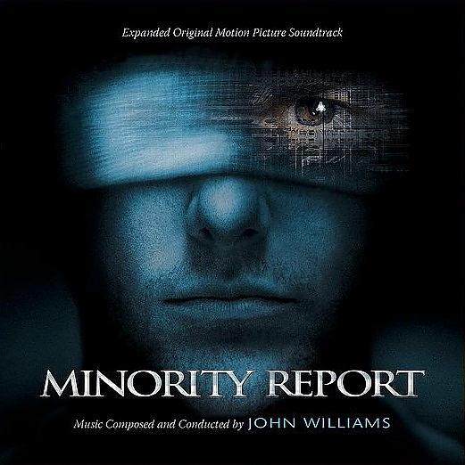 Tom Cruise's face, with a bandage over his eyes, is featured on the cover of the Minority Report expanded soundtrack