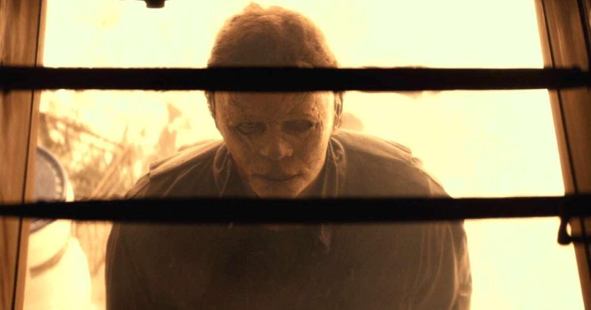 Michael Myers in a fiery basement