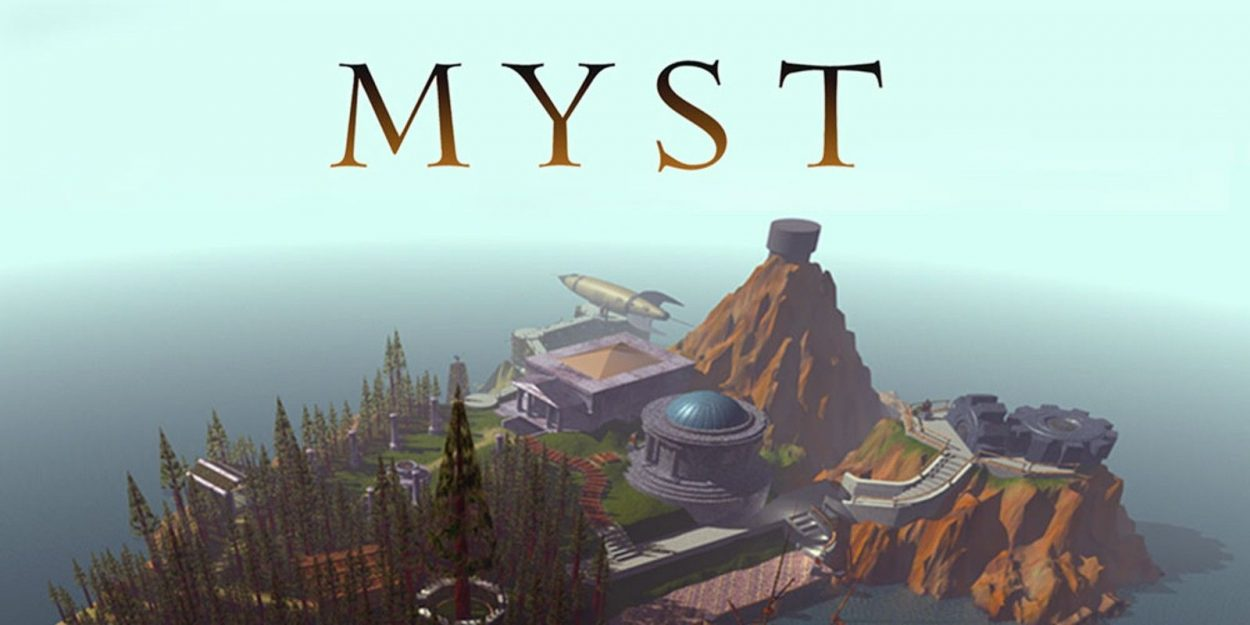 the island from the game Myst, underneath the 'Myst' logo