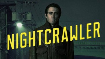 The Nightcrawler title screen showing Jake Gyllenhaal as Lou Bloom standing in a dark LA street