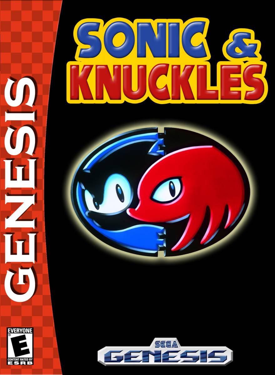 """The box art for Sonic & Knuckles is a black background with an oval in the center containing profiles of Sonic in blue on the left and knuckles in red on the right. The red band that says """"Genesis"""" is along the left side of the box."""