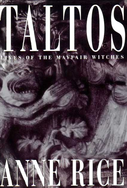 """a grey painting of abstract demons grace the entirity of the cover, with """"Taltos"""" in white on the top quarter of the image."""