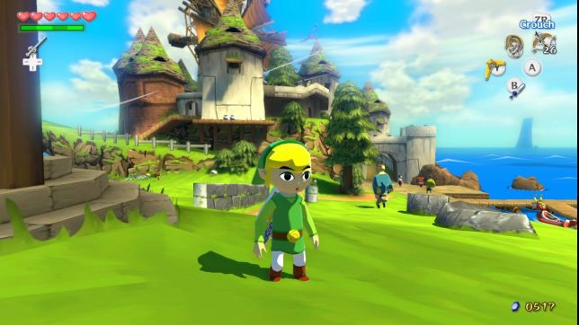 Link again stands on Windfall Island, but the HD version makes it look crisper. There are shadows and more textures. The windmill off in the distance spins along by the sea.