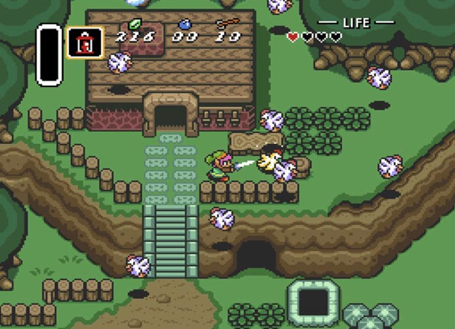 Chickens come from all over the screen heading straight towards Link.