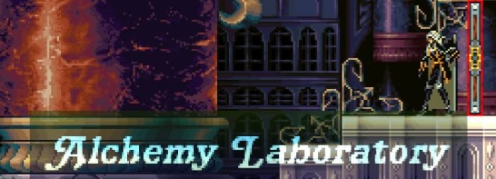 Alucard enters a new area, with large marble pillars. The title card reads: Alchemy Laboratory