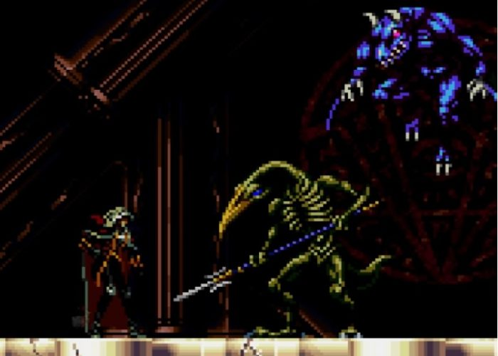 Alucard battles Slogra, the skeletal bird creature who brandishes a spear, and Gaibon, his blue demon companion