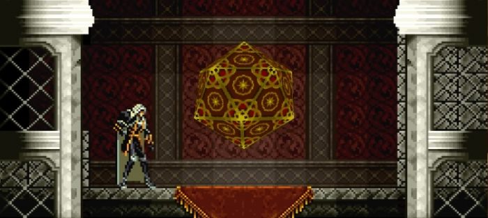Save Rooms consist of a pulsating device that Alucard steps into to save his progress.