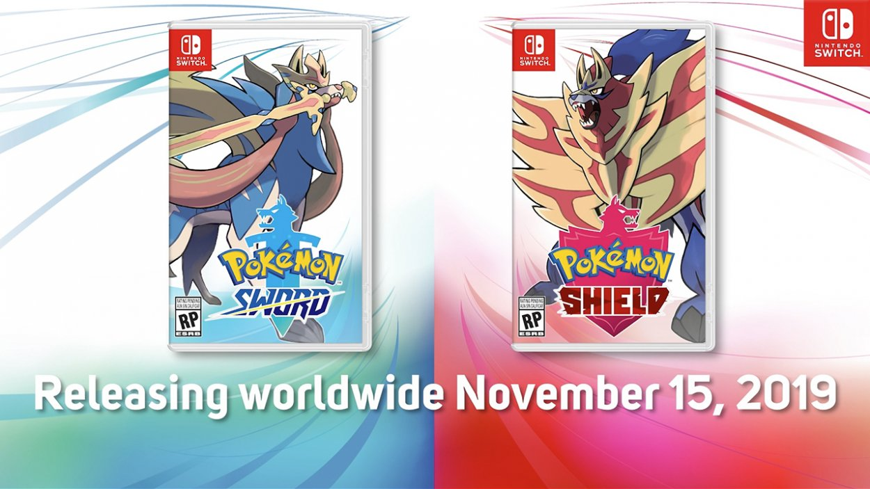 the box art of pokemon sword and shield, showing the two legendary pokemon