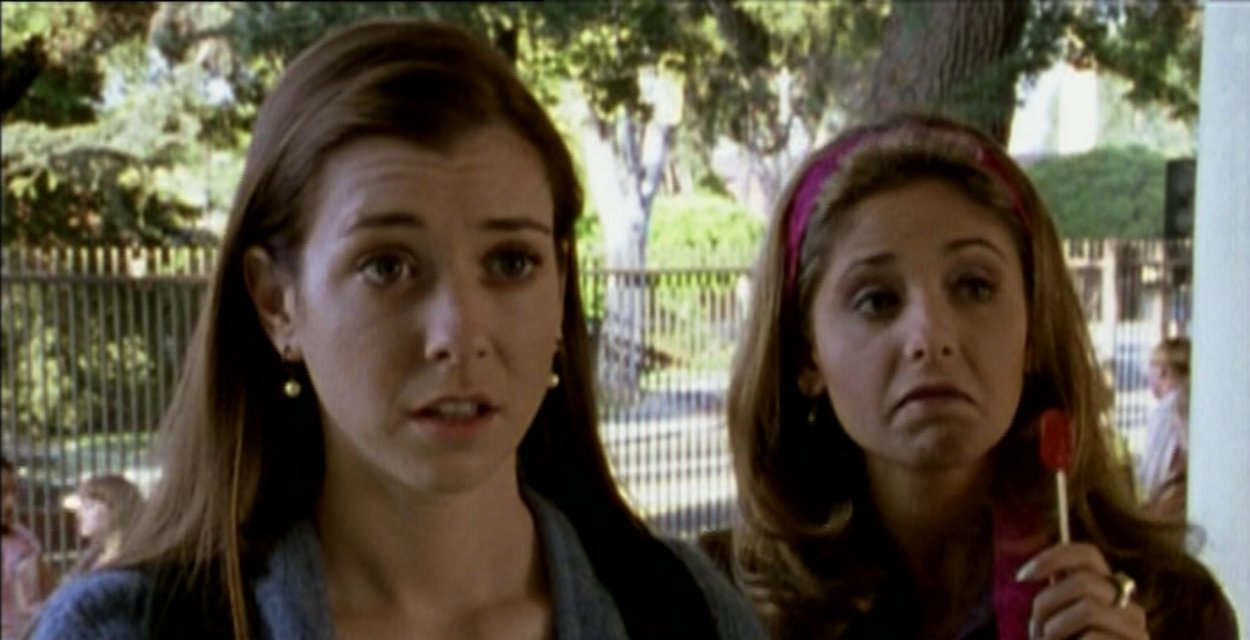 Buffy and Willow stand outside