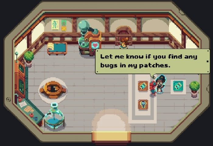 "The med bay lady tells you to ""Let me know if you find any bugs"" in her patches."