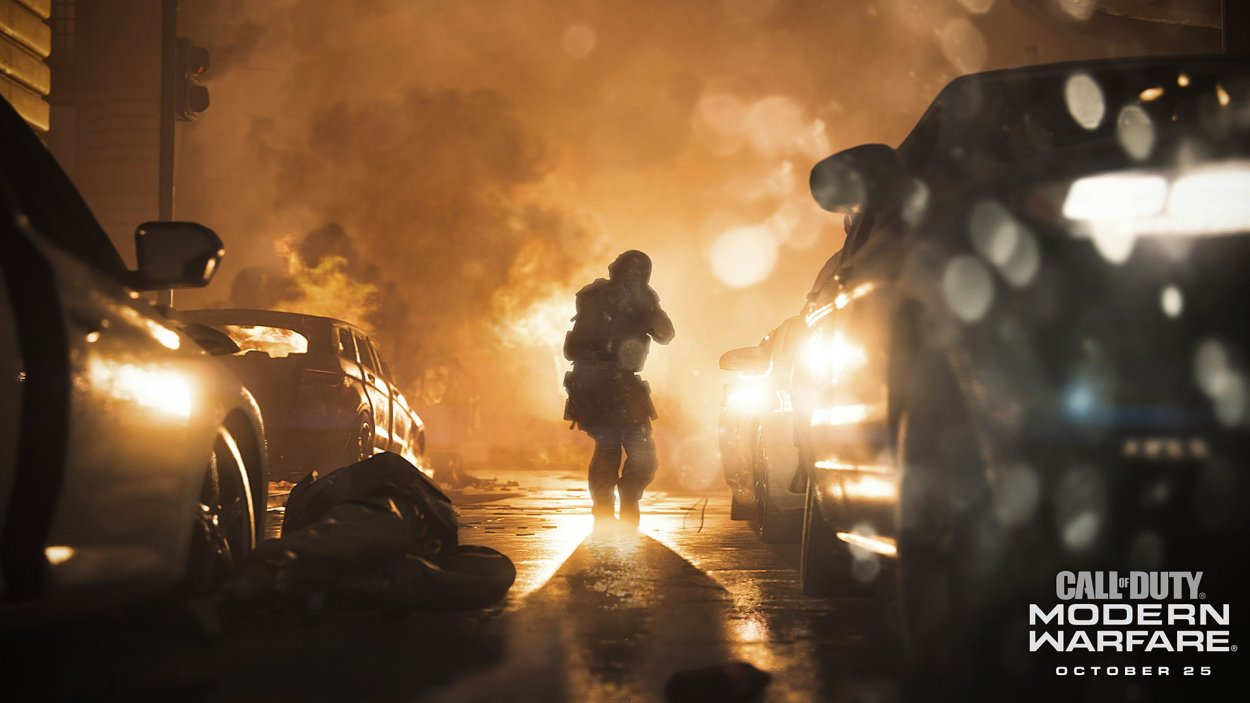 a soldier in a street of fire