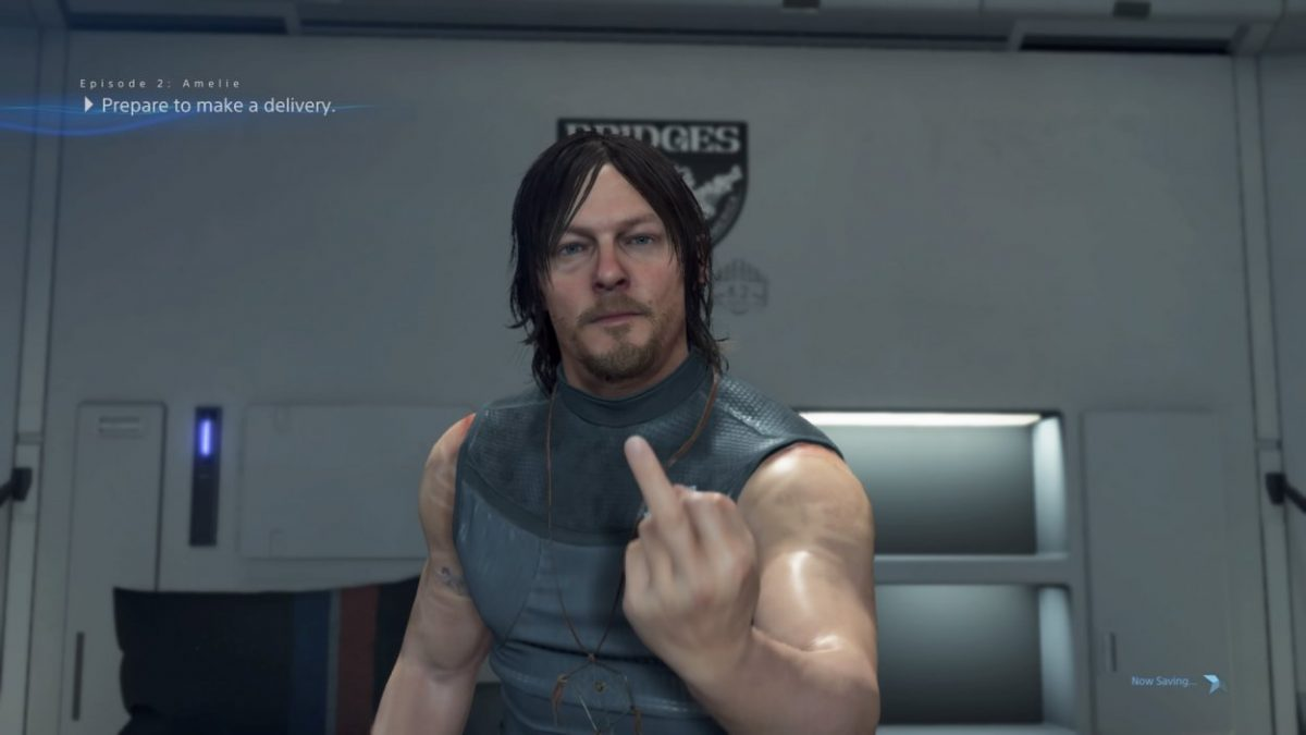 norman reebus flipping the bird in Death Stranding