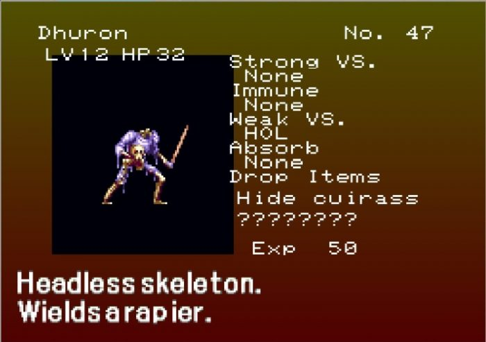 The bestiary shows you enemies such as Dhuron, and all his stats.