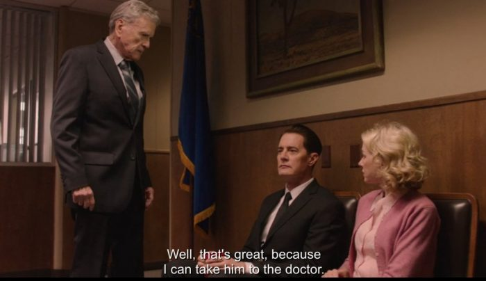 Dougie, Janey-E, and Bushnell at the police station in Vegas.
