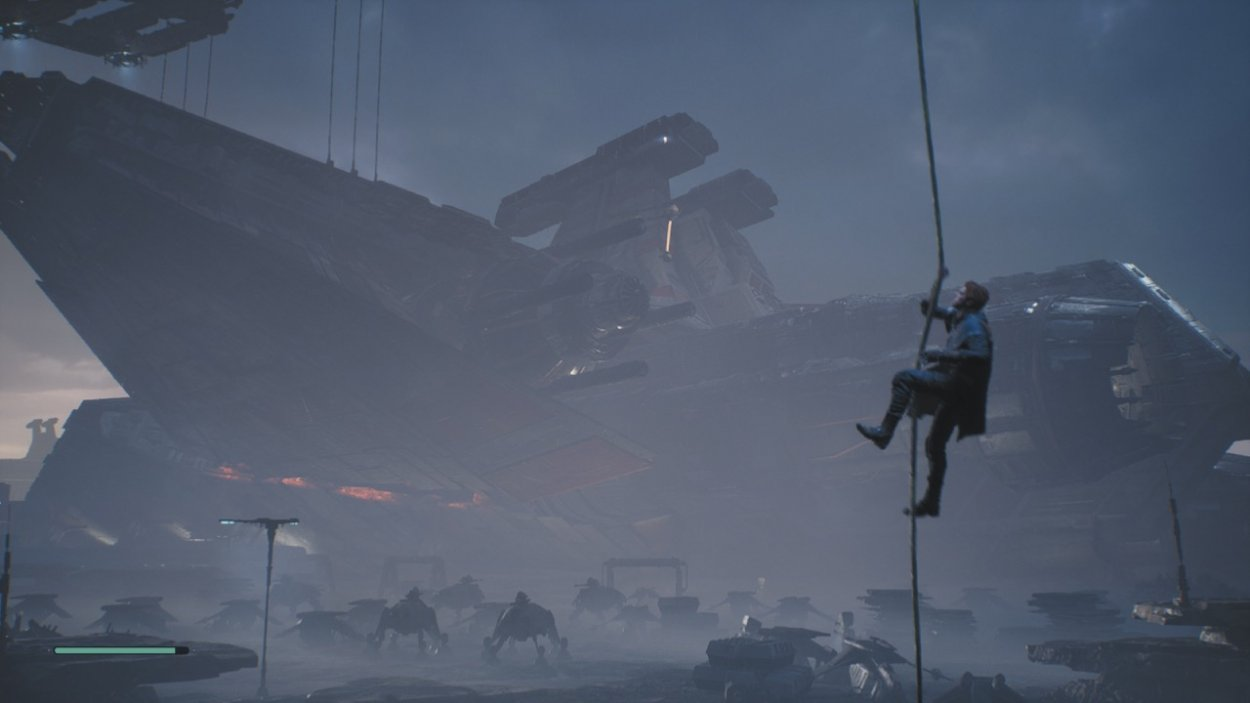 Star Wars Jedi: Fallen Order Cal climbs a rope with a large spaceship behind him
