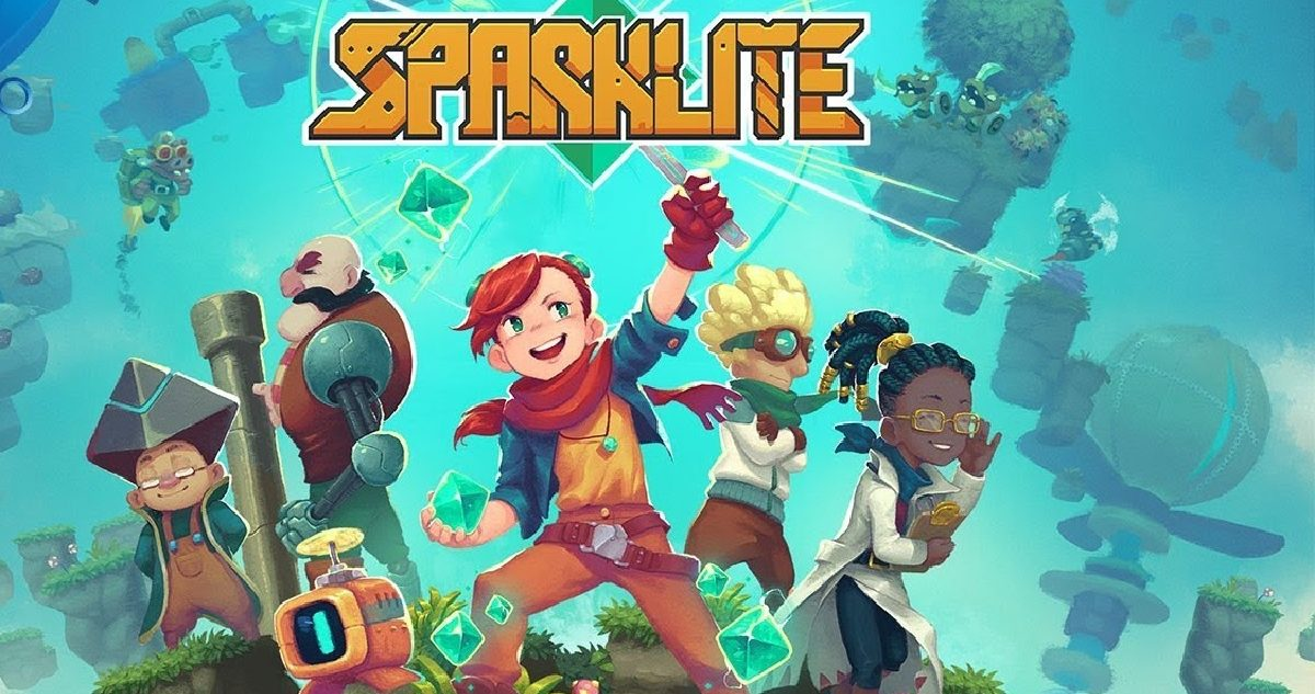 Sparklite's title screen, showing young Ada, the protagonist, a red haired girl, and her friends.