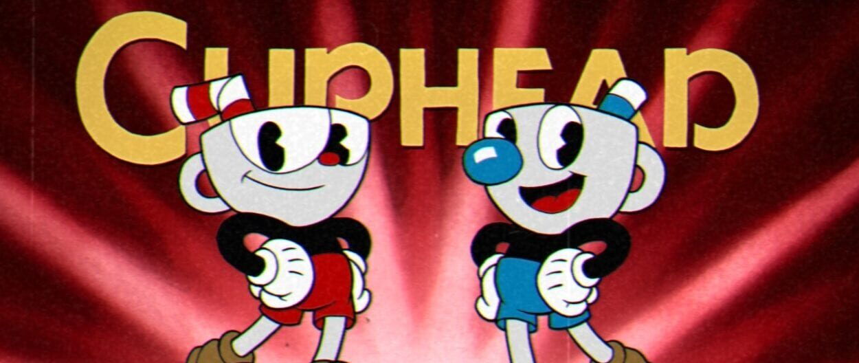 Two animated anthropomorphic cups Cuphead and Mugman smile.