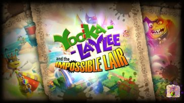 The title screen for Yooka Laylee and the Impossible Lair shows Yooka, Laylee, Mister B, and Queen Bee