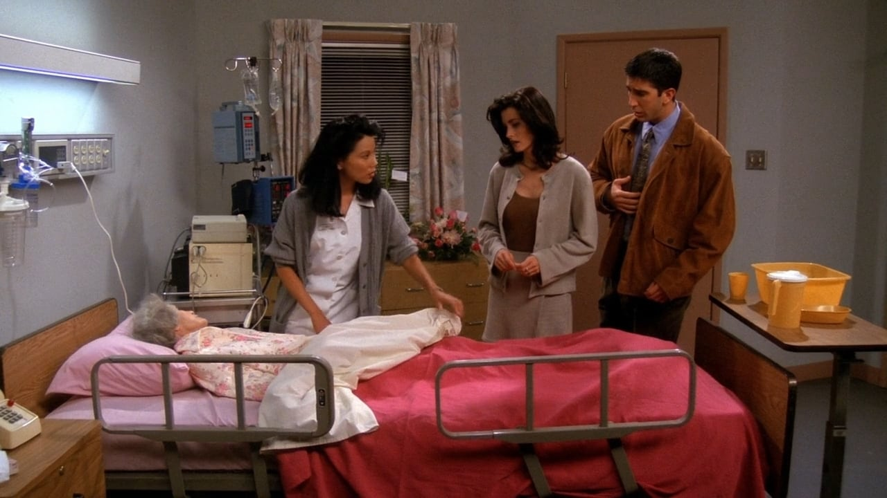 Nana lays in a hospital bed, while Monica and Ross look on from the foot of the hospital bed.