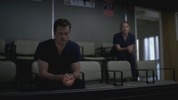 Mark and Arizona sit in the Observation room of the hospital and watch as Callie's surgery begins. Both are scared.
